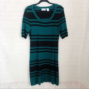[Allison Brittney] black stripe stretch dress L